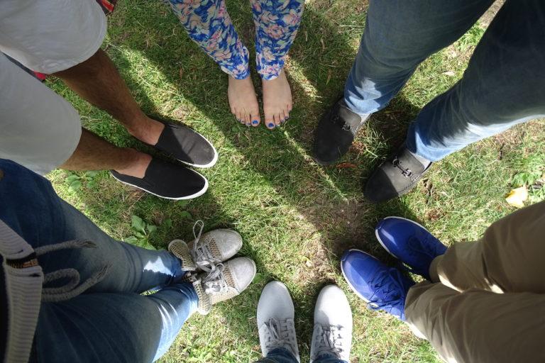 Fußkreis auf Wiese